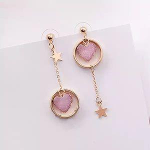Jewelry - ARRIVED! Asymmetrical Pink Heart Dangle Earrings